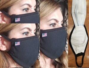 3 Set FILTER POCKET Face mask, USA MADE, mouth nose cover 100% Cotton Wash reuse