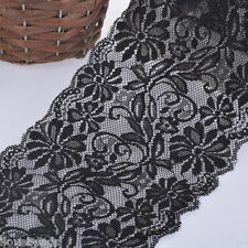 5Yards Black Wide Elastic Lace Trim Ribbon Craft Sewing Wedding Dress Decor 15cm