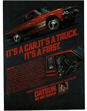 1978 DATSUN King Cab Red Pickup Truck art VTG PRINT AD