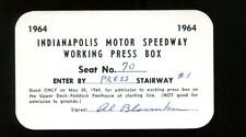 1964 Indy 500 Press Pass Ticket Indianapolis A.J. Foyt Ex 25646
