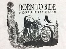 Vintage Born to Ride shirt Forced to Work Long Sleeve Shirt Motorcycle Harley XL