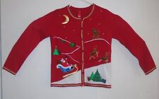 Christmas Holiday Santa Claus Red Cardigan Sweater Womens size S small 4 6