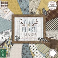 "8"" x 8"" 48 Sheet Full Pad WILD AT HEART Card Making Scrapbook Craft Paper"