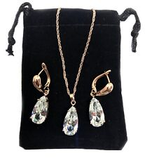 Simulated Crystal Diamond Yellow Gold Necklace Earrings Set FREE velvet Bag 227
