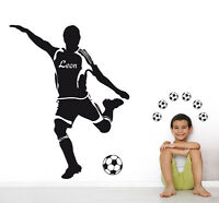 Wandaufkleber: Fußballer+Wunschname - Kinderzimmer EM WM Name Fußball WandTattoo