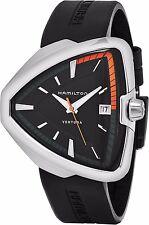 Hamilton Men's Ventura Black Dial Black Rubber Strap Quartz Watch H24551331