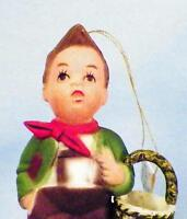 Kurt S Adler Hummel Type Christmas Ornament Boy with Basket & Duck Hard Plastic