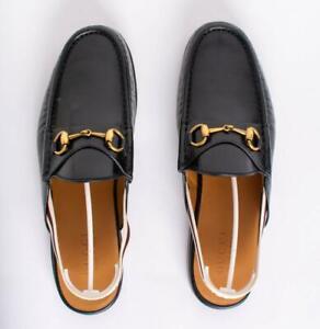 Gucci Black Horsebit Calfskin Stripe Mens Slingback Slippers Sandals US 9.5