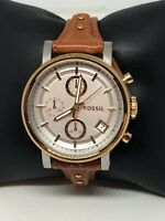 Fossil ES3837 Women's Brown Leather Analog Silver Dial Quartz Wrist Watch HO218