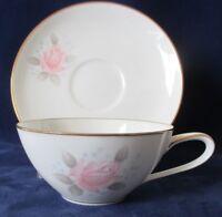 Vintage Noritake Roseville China Cup and Saucer Pink Rose  1961-73