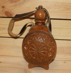 Vintage hand made folk carved wood brandy flask bottle