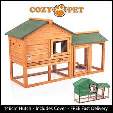 Rabbit Hutch & Cover 148cm Cozy Pet Natural Guinea Pig Hutches Run Ferret Runs