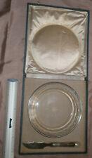 Assiette ou plat creux + couteau art déco - cristal & frise perles argent massif