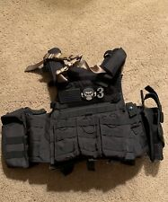 Lancer Tactical Plate Carrier, Adjustable Black Used w/ compartments & holster