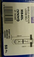 M8 x 40 mm loose bolt shield anchor  . Box of 50.  FREE POSTAGE.   fixings
