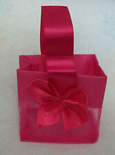 "6 Sm HOT Pink Organza Jewelry 3x2x3"" Wedding Part Gift Tote Bag Satin Bow Handle"