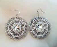 Native American beaded white earrings