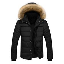 Men's Fur Collar Hooded Parka Winter Thicken Jacket Warm Coat Short Outwear