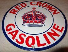 """VINTAGE """"RED CROWN GASOLINE"""" 11 3/4"""" PORCELAIN METAL GAS & OIL  SIGN! PUMP PLATE"""