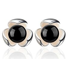 GirlZ! Fashion Lucky Black Stone Flower Stud Earrings
