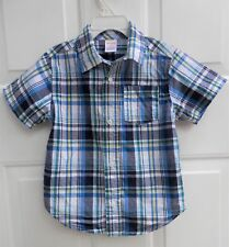 Gymboree Baby Boys Blue White Plaid Collar Shirt 3T Button Down Short Sleeve