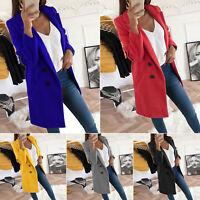 Womens Long Sleeve Slim Lapel Blazer Suit Coat Jacket Work Suit Outerwear Plus