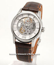 Runde mechanisch - (automatische) Armbanduhren mit Armband aus echtem Leder Oris