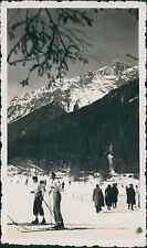 Chamonix, le Brévent, près du téléski Vintage silver printEnserrée entre les m