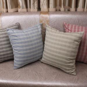 CURCYA Cotton Plaid Cushion Cover Square Pillow Case Cover for Sofa Chair Decor