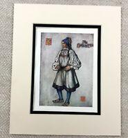 1905 Antique Print Setesdal Norway Norwegian Peasant Girl Portrait Painting