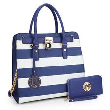 Women Medium Stripe Handbag Shoulder Bag Satchel Matching Wallet Purse