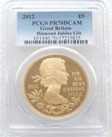 2012 British Diamond Jubilee £5 Five Pound Silver Gold Proof Coin PCGS PR70 DCAM