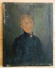 Peinture Tableau Huile sur panneau de bois - Portrait femme XIXe non signé -