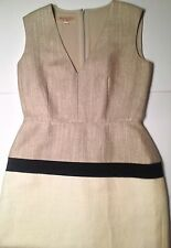 Giambattista Valli jute silk linen dress cream beige size 6 M 8 Italy 42
