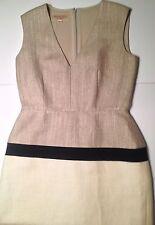 Giambattista Valli jute silk linen dress cream beige size 6 M 8 Italy 42
