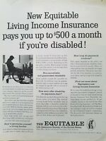 1961 Equitable life living income  insurance man vintage wheelchair ad