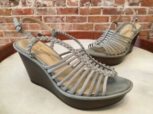 B Makowsky Willow Blue Grey Leather Braided Wedge Sandals 6.5 New