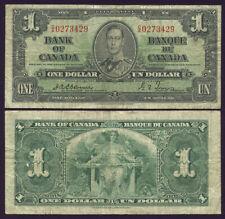 CANADA $1.00 KING GEORGE VI 1937 PREFIX C/A OSBORNE
