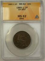 1889 Great Britain 1/2 Penny Copper Coin Queen Victoria ANACS MS 62 Brown