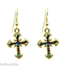 & Mirrored Ab Crystal Bling Earrings Gorgeous Urban Gothic Fashion Gold Cross