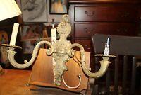 Antique Wall Light Fixture Ornate Brass