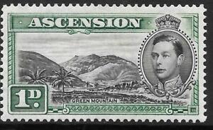 ASCENSION 1938 1d black & green, mint hinged. SG 39. Cat.£45.