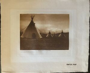 EDWARD S. CURTIS (1868-1952) Camp In The Foothills-Piegan 1905 photogravure
