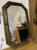 Antique Solid Oak Art Deco Mirror  Edwardian 77cm By 49cm  Overmantle Chain