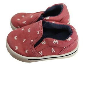 Carter's Red White Canvas Lobster & Blue Crab Print Slip On Shoes Toddler Size 6