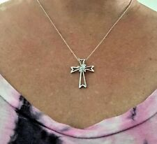 """15 Diamond Cross W/ Bow Pendant Necklace + 18"""" Chain Rhodium on Sterling Silver"""