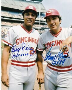 JOHNNY BENCH / TONY PEREZ  CINCINNATI REDS  HOF  ACTION SIGNED 8x10