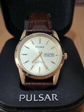 Pulsar Men's Gents Gentleman Day Date Watch VJ33-X004 100m WR Gold Dial