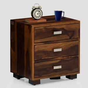 Sheesham Wood Bed Side Accent End Table with Drawers Living Bed Room Furniture