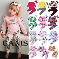 Toddler Kid Baby Girl Long Sleeve Floral Tops Pants Outfits Set Clothes 0-6T